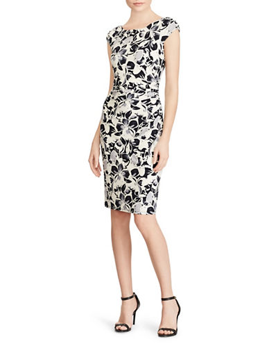 Lauren Ralph Lauren Cap-Sleeve Knee-Length Day Dress-WHITE-10