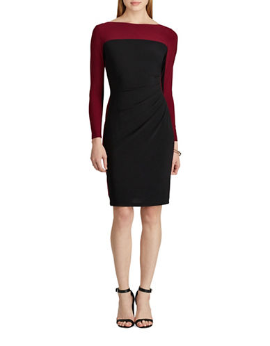 Chaps Colourblock Jersey Sheath Dress-BLACK/RED-Small