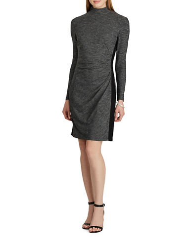 Chaps Shirred Stretch Jersey Dress-GREY-10