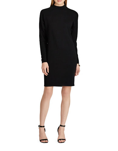 Chaps Mock Neck Sweater Dress-BLACK-X-Small