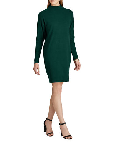 Chaps Mock Neck Sweater Dress-GREEN-Small
