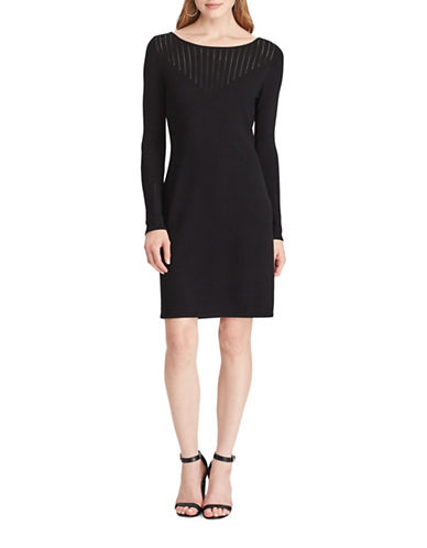 Chaps Pointelle-Knit Dress-BLACK-Large
