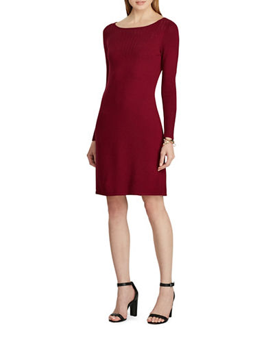 Chaps Pointelle-Knit Dress-RED-X-Large