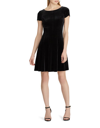 Chaps Velvet Mini Dress-BLACK-Medium