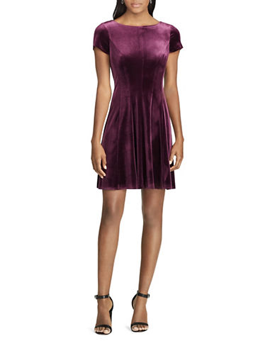 Chaps Velvet Fit-&-Flare Dress-PURPLE-Small
