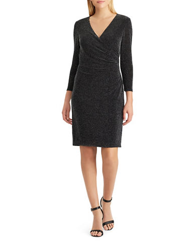 Chaps Metallic Knit Sheath Dress-BLACK-10