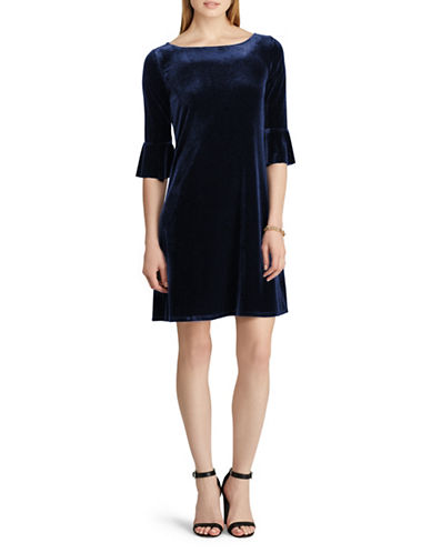 Chaps Velvet Fit-and-Flare Dress-BLUE-X-Large