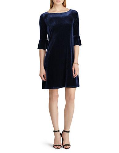 Chaps Velvet Fit-and-Flare Dress-BLUE-Medium