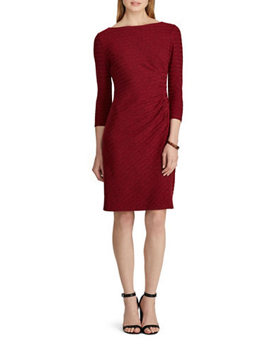 Chaps Knit Boatneck Sheath Dress-RED-16