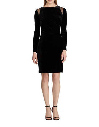 Chaps Velvet Sheath Dress-BLACK-14