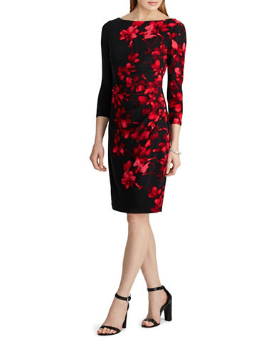 Chaps Floral Sheath Dress-BLACK MULTI-Small