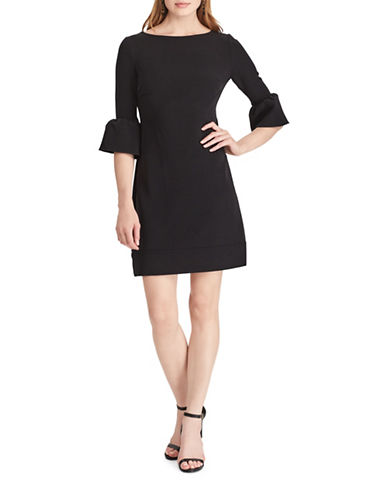 Chaps Crepe Bell-Sleeve Dress-BLACK-8