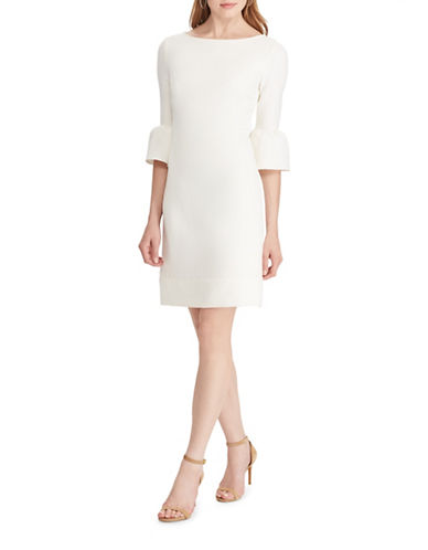 Chaps Crepe Bell-Sleeve Dress-WHITE-6