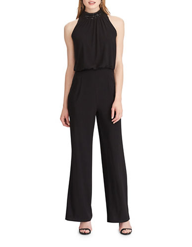 Chaps Sequin-Trim Jersey Jumpsuit-BLACK-12