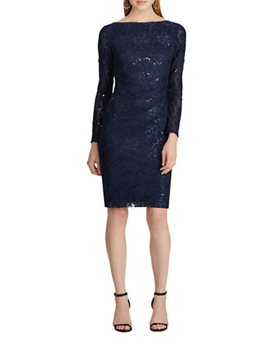Chaps Sequined Lace Dress-BLUE-2