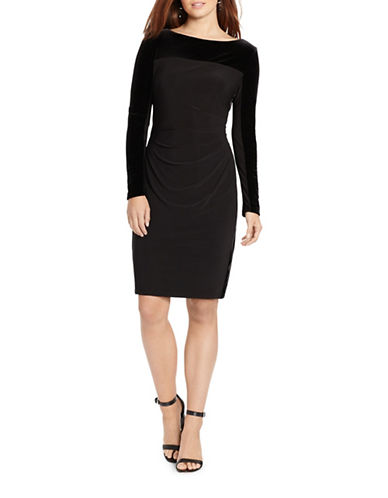 Chaps Long Sleeve Sheath Dress-BLACK-4