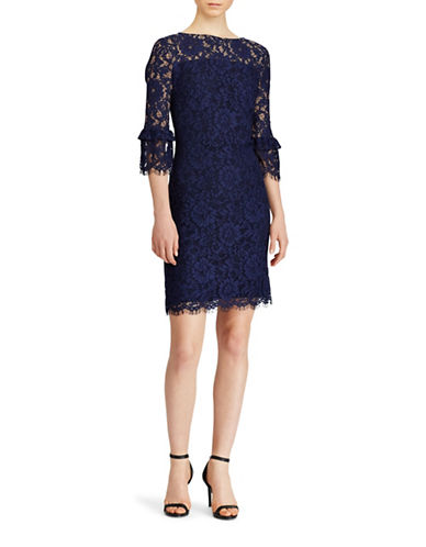 Lauren Ralph Lauren Lace Bell Sleeve Dress-BLUE-18