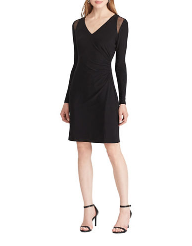 Chaps Mesh-Trim Jersey Sheath Dress-BLACK-Medium