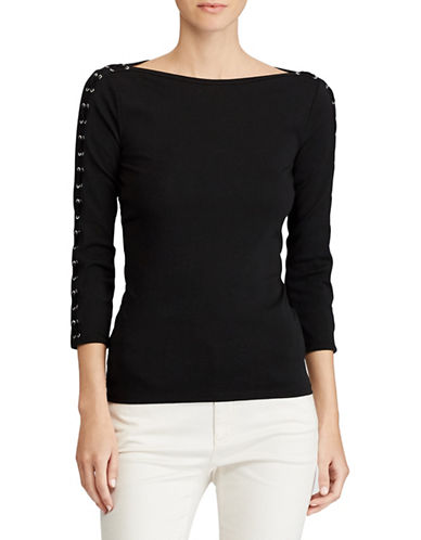 Lauren Ralph Lauren Lace-Up Boat Neck Top-BLACK-Medium