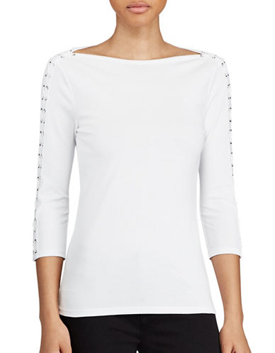 Lauren Ralph Lauren Lace-Up Boat Neck Top-WHITE-X-Small