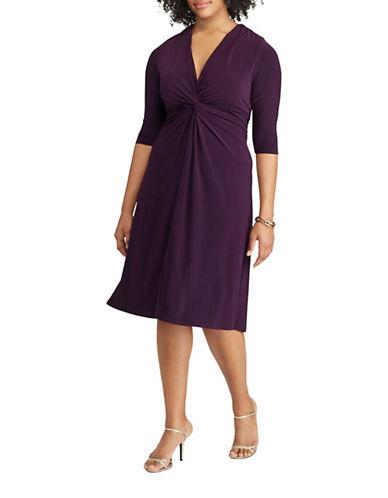Chaps Twist-Front Jersey A-Line Dress-PURPLE-14W