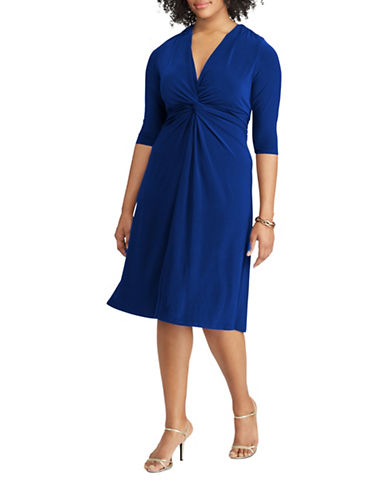 Chaps Twist-Front Jersey A-Line Dress-BLUE-14W