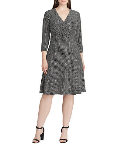 Chaps Dot-Print Jersey Fit-and-Flare Dress-BLACK/CREAM-18W