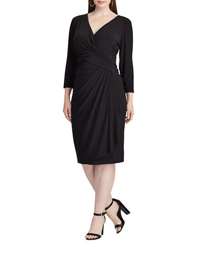 Chaps Jersey Faux-Wrap Sheath Dress-BLACK-14W