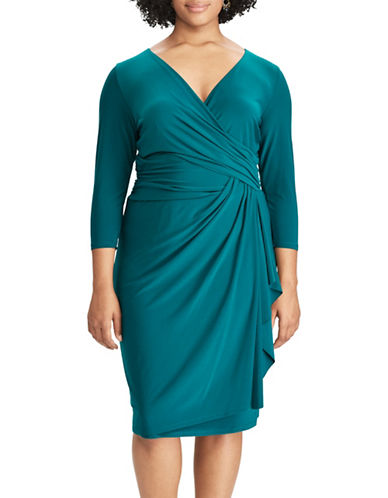 Chaps Jersey Faux-Wrap Sheath Dress-GREEN-18W