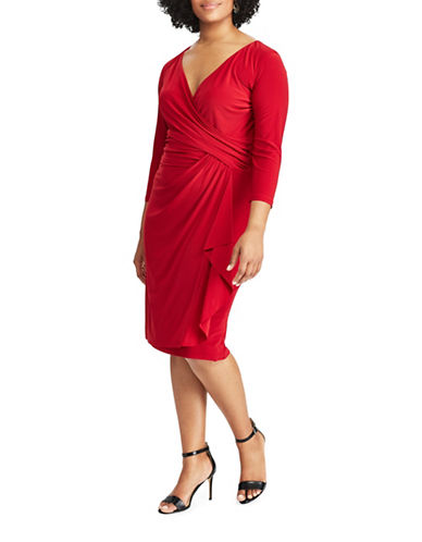 Chaps Jersey Faux-Wrap Sheath Dress-RED-20W