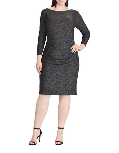 Chaps Jersey Sheath Dress-GREY-18W
