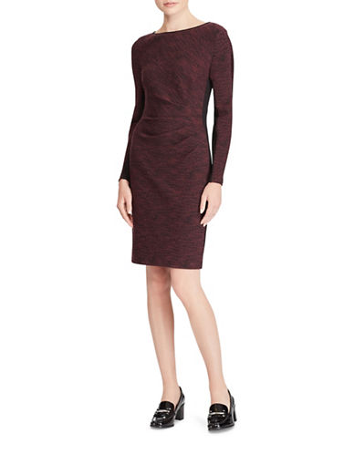 Lauren Ralph Lauren Two-Tone Sheath Dress-BLACK/RED-6