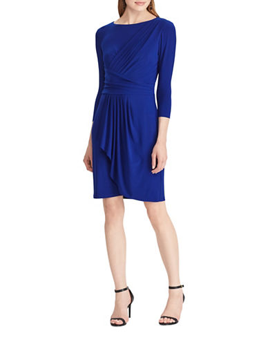 Chaps Pleated Jersey Sheath Dress-BLUE-X-Small