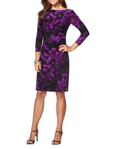Chaps Floral Jersey Dress-BLACK/PURPLE-X-Large