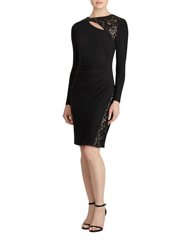 Lauren Ralph Lauren Inditha Sequined-Trim Jersey Sheath Dress-BLACK-4