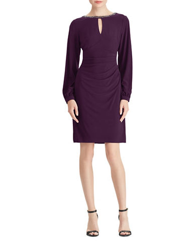 Chaps Beaded-Neckline Jersey Dress-PURPLE-4