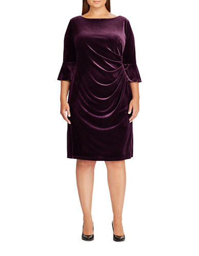Chaps Velvet Bell-Sleeve Dress-PURPLE-24W