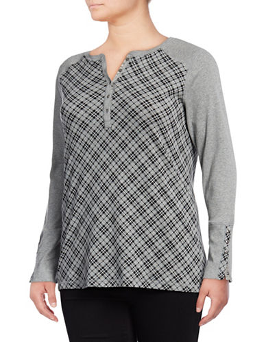 Chaps Plus Cotton Knit Top-GREY BLACK-1X