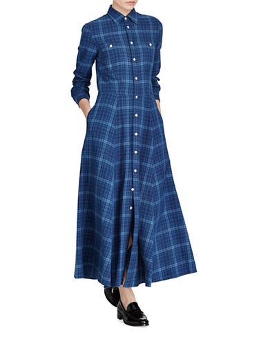 Polo Ralph Lauren Plaid Cotton Twill Shirtdress-BLUE-Small