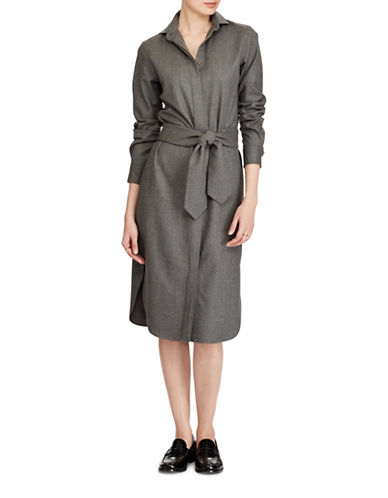 Polo Ralph Lauren Straight-Fit Wool Shirtdress-GREY-12