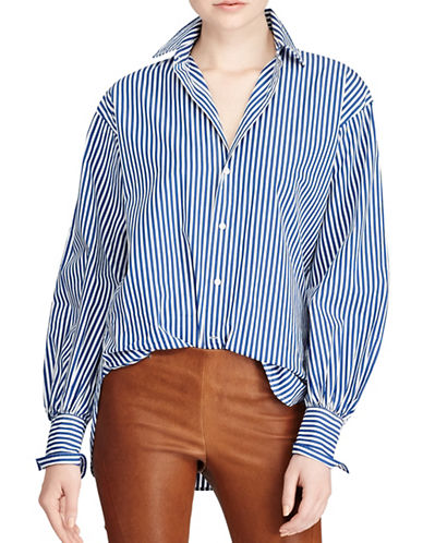 Polo Ralph Lauren Striped Cotton Boyfriend Button-Down Shirt-BLUE MULTI-12