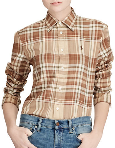 Polo Ralph Lauren Relaxed-Fit Plaid Cotton Twill Button-Down Shirt-BEIGE-Small