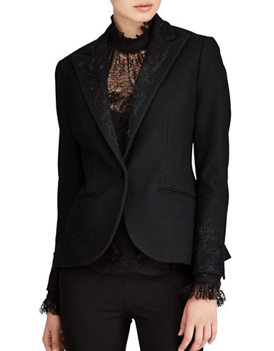 Polo Ralph Lauren Beaded Merino Wool Blazer-POLO BLACK-12