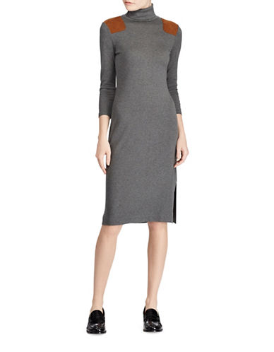 Polo Ralph Lauren Suede-Trim Three-Quarter Sleeve Dress-GREY-Large