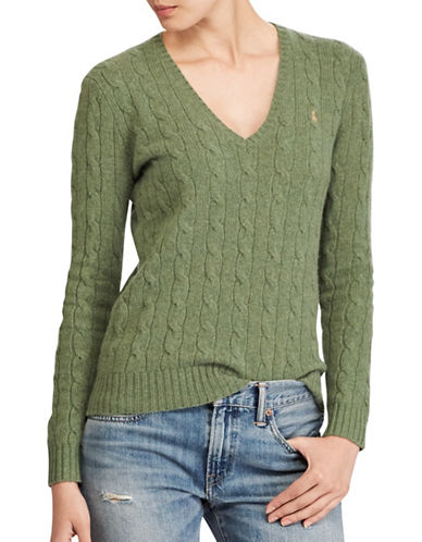 Polo Ralph Lauren Cable-Knit V-Neck Sweater-GREEN-Medium