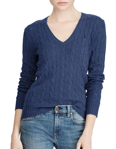 Polo Ralph Lauren Cable-Knit V-Neck Sweater-BLUE-Small