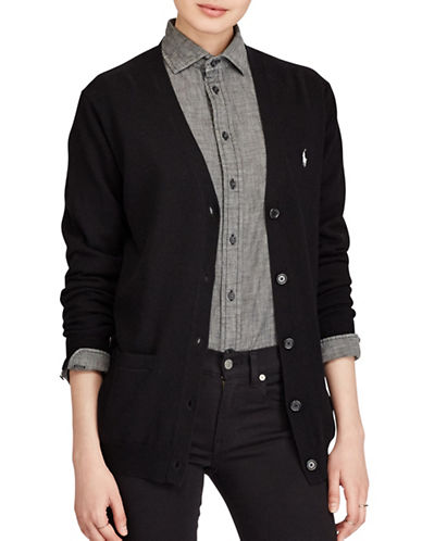 Polo Ralph Lauren Merino Wool Boyfriend Cardigan-BLACK-Large