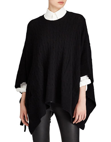 Polo Ralph Lauren Cable-Knit Poncho-POLO BLACK-Large