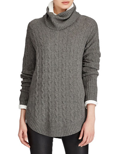 Polo Ralph Lauren Cable-Knit Turtleneck Sweater-GREY-X-Small