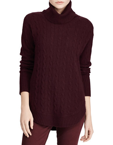 Polo Ralph Lauren Cable-Knit Turtleneck Sweater-RED-Small